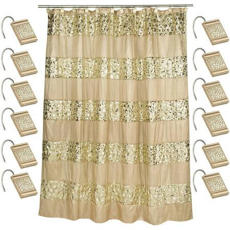Popular Bath Sinatra Champagne 70 X 72 Bathroom Fabric Shower Curtain Hook Set