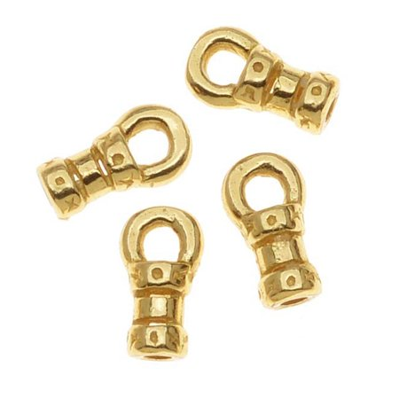 Gold Tone Brass Fancy Crimp Beads 1mm Loop Cord Ends (10)