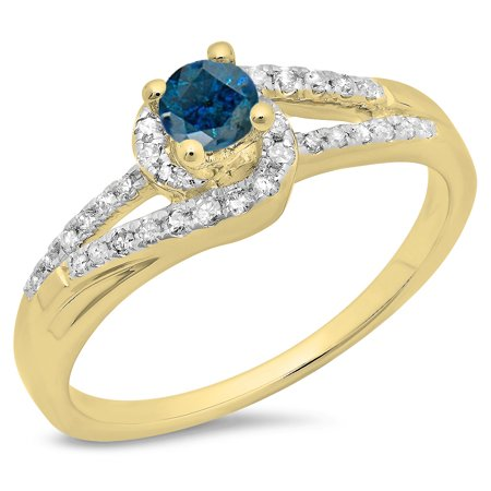 Dazzlingrock Collection 0.45 Carat (ctw) 14K Blue & White Diamond Twisted Bridal Engagement Ring 1/2 CT, Yellow Gold, Size 10