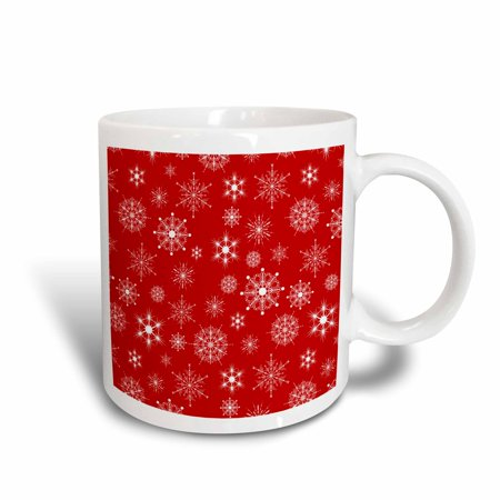 Mug Shot Background (3dRose White Snowflakes Red Background, Ceramic Mug,)