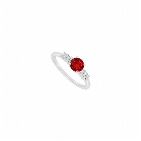 Fine Jewelry Vault UBJS3084AW14DR Diamond & Natural Ruby Engagement Ring in 14K White Gold With 0.60 CT TGW , 6 Stones