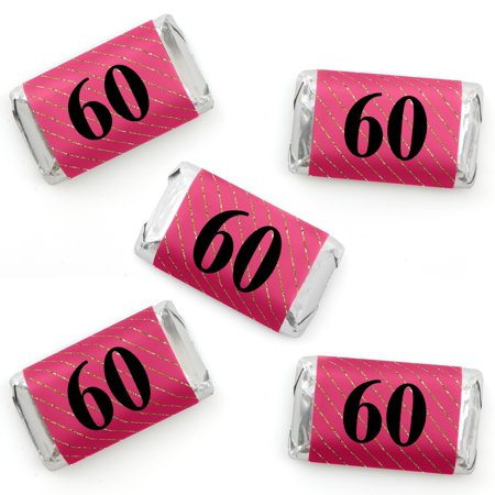 Chic 60th Birthday - Pink, Black and Gold - Mini Candy Bar Wrapper Stickers - Birthday Party Small Favors - 40 Count](60th Birthday Color Scheme)