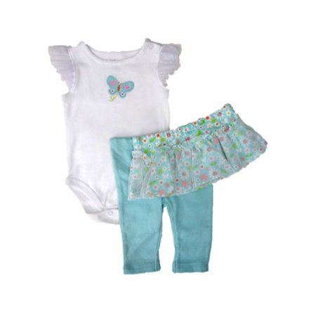 Infant Girls Butterfly Baby Outfit Blue Bodysuit Leggings & Tutu Skirt