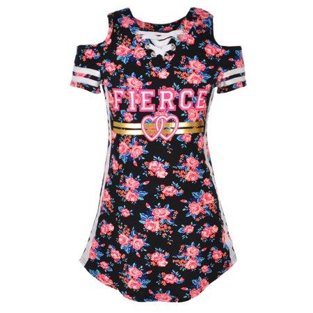0c2226cd83d8a Dream Star - Dream Star Girls' Cold Shoulder Dress - Walmart.com