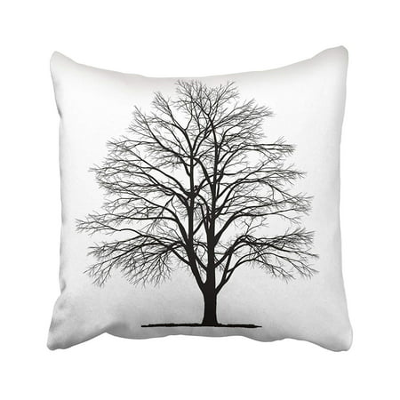 ARTJIA White Silhouette Drawing Of The Tree Detailed Black Beech Branch Organic Winter Dead Pillowcase Pillow Cushion Cover 20x20 inches](Black Tree Branches Halloween)