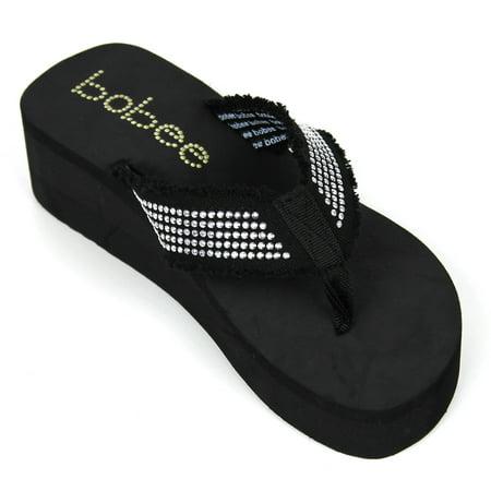 86cbd108738f Bobee - NEW Womens Fashion Wedge Platform Thong Slip On Flip Flops Sandals  EVA 2.5 inch (Bobee-Black-6) - Walmart.com