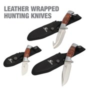Mossy Oak 3-Pack Hunting Knives, Leather Wrapped with Sheath, Model 7519