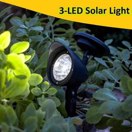 2PCS/Pack NEW Upgraded Solar Garden Lights 3-LED Solar Powered LED Spotlight Outdoor Garden Landscape Lawn Yard Path Solar Spot Light Lamp Auto On(Black)