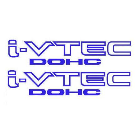 2x Blue i-VTEC DOHC Vinyl Decal Stickers Emblem Honda Acura ivtec