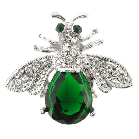 Fantasyard Emerald Crystal Bee Brooch - Silver - 1.25 x 1 in. - image 1 de 1