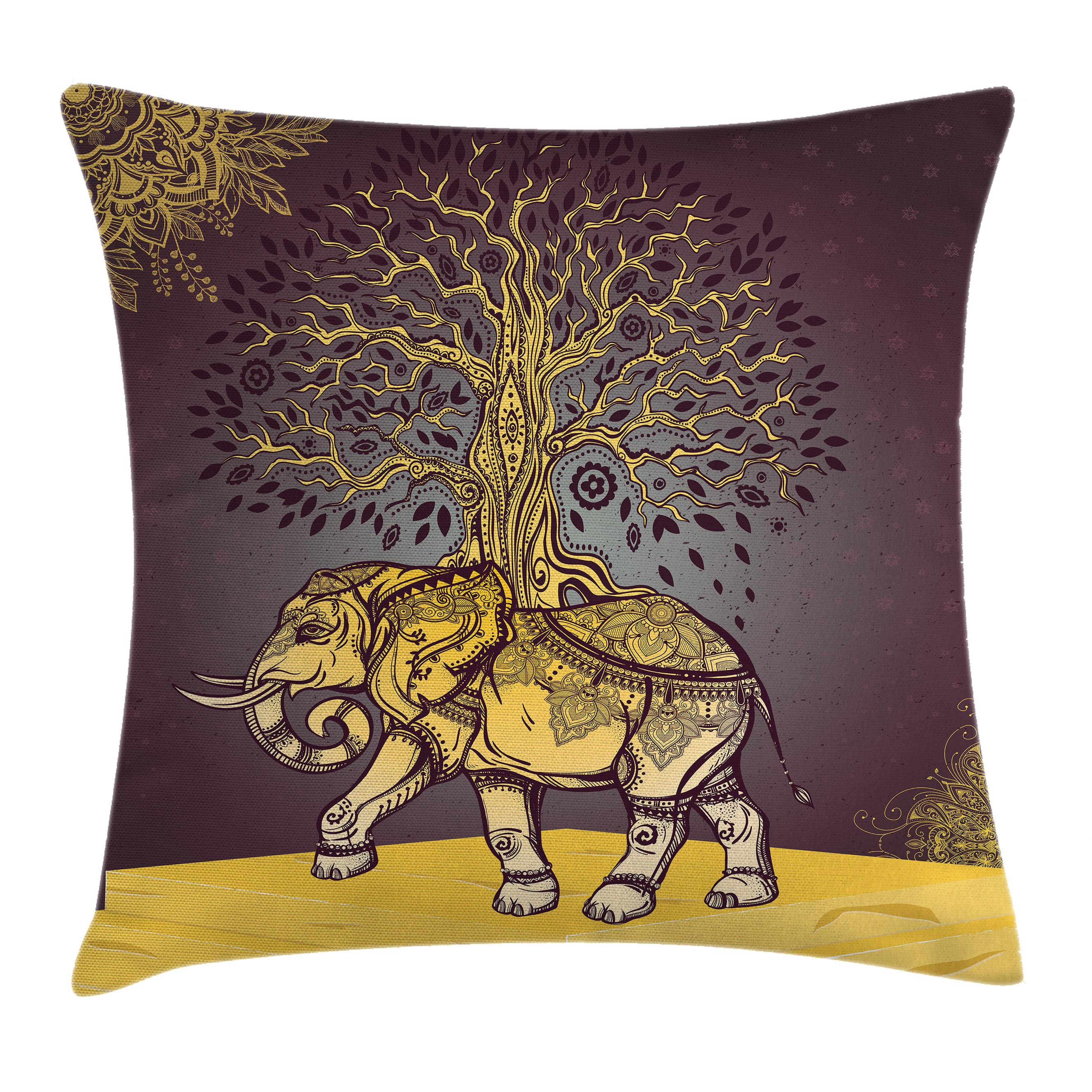 Indian Throw Pillow Cushion Cover, Asian Elephant with Tree on Back Spiritual Animal Good Luck Symbol Art, Decorative Square Accent Pillow Case, 24 X 24 Inches, Dark Mauve Golden Yellow, by Ambesonne