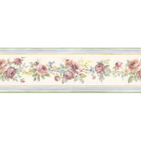 Norwall Wallcoverings Inc Floral Prints II 15' x 3.5'' White Wedding Border Wallpaper