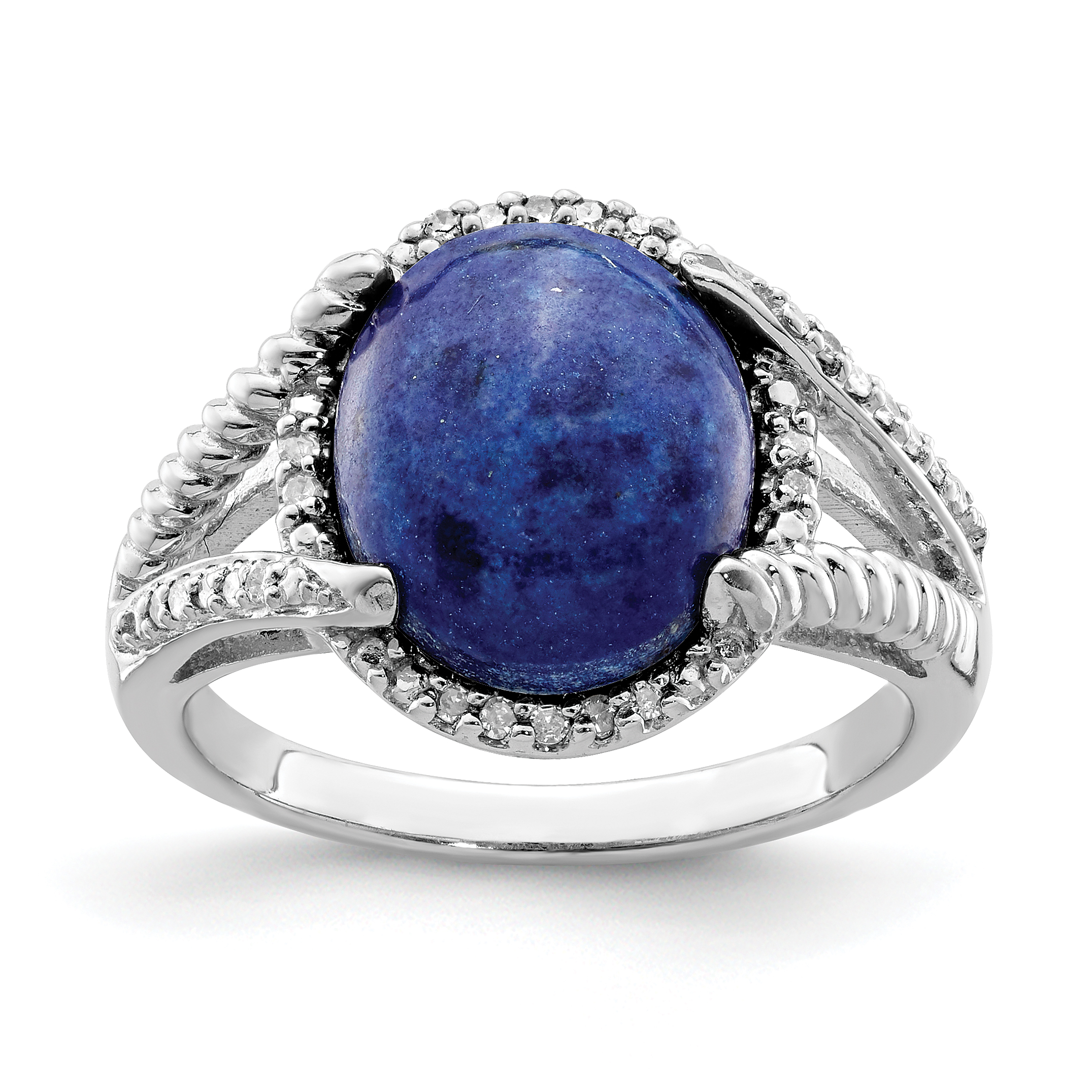 925 Sterling Silver Lapis Diamond Band Ring Size 8.00 Gemstone Fine Jewelry Gifts For Women For Her - image 2 of 2