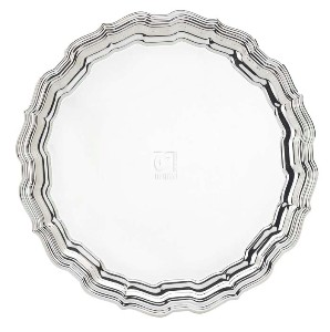 "14.5"" SILVER PLATED TRAY, CHIPPENDALE COLLECTION"