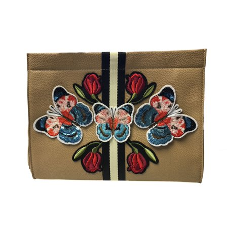 - Inzi Tigers and Roses Clutch Handbag - Blush