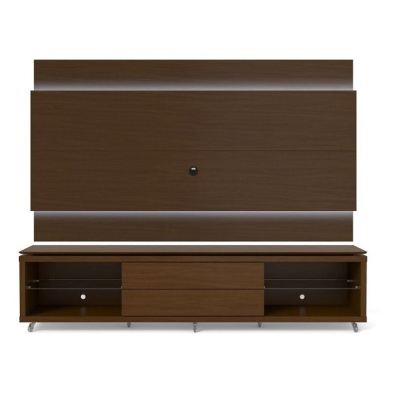 """Bowery Hill 94"""" TV Stand and LED Panel Set in Nut Brown"""