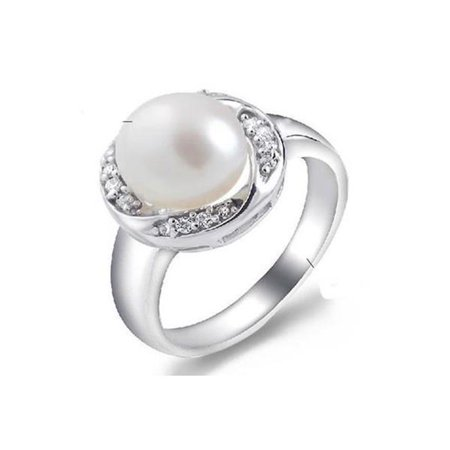 Harry Chad Enterprises 32429 0.10 CT Lady Men Gold Jewelry 12 mm Round Shaped Pearl & Diamond Ring ()