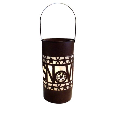 """15"""" Shimmering LED Lighted """"Snow"""" Battery Operated Christmas Lantern - image 1 of 1"""