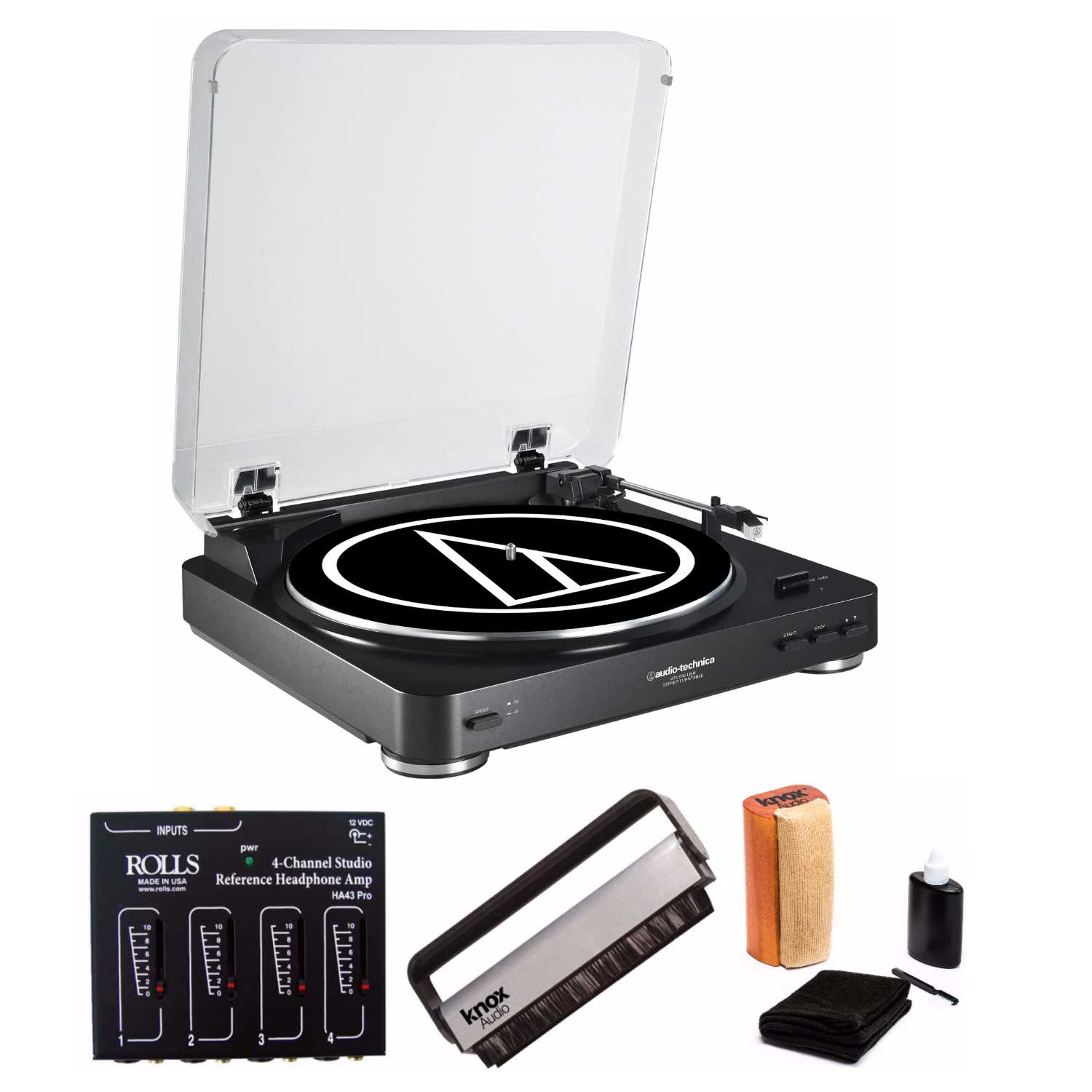 Audio Technica AT-LP60-USB Turntable with Headphone Amplifier and Accessories