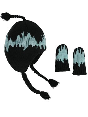 NICE CAPS Little Boys and Baby Glow in the Dark Knit Sherpa Lined Hat Mittens Winter Snow Accessory Set - Fits Kids Toddlers Infants Babies
