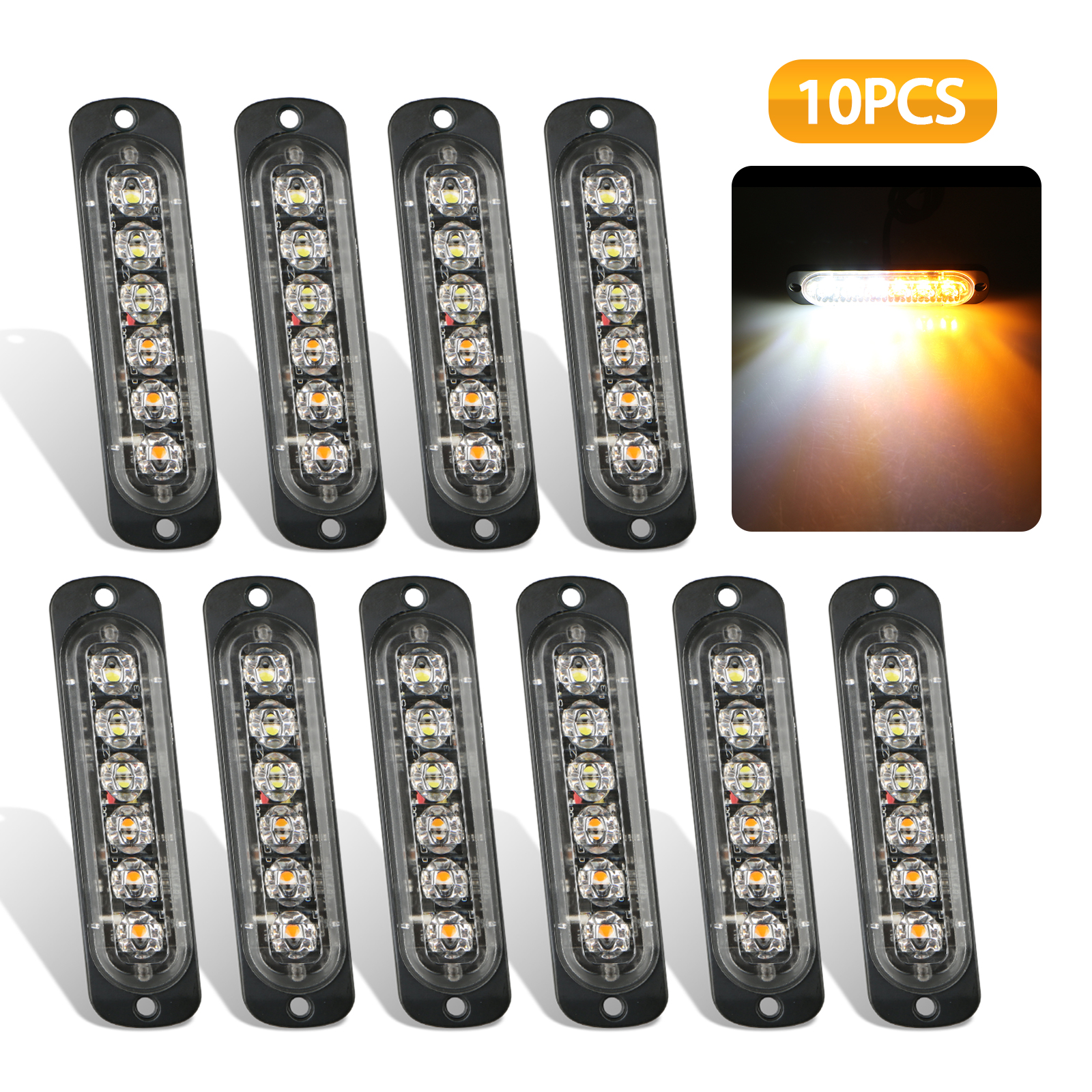 Emergency Strobe Lights, EEEKit Universal 10-Pack 6 LED 18W Surface Mount Amber/White Emergency Warning Hazard Flashing Strobe Light Bar For Off Road Vehicle, ATVs, Truck