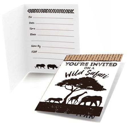 Wild Safari - Fill In African Jungle Adventure Birthday Party or Baby Shower Invitations (8 count)