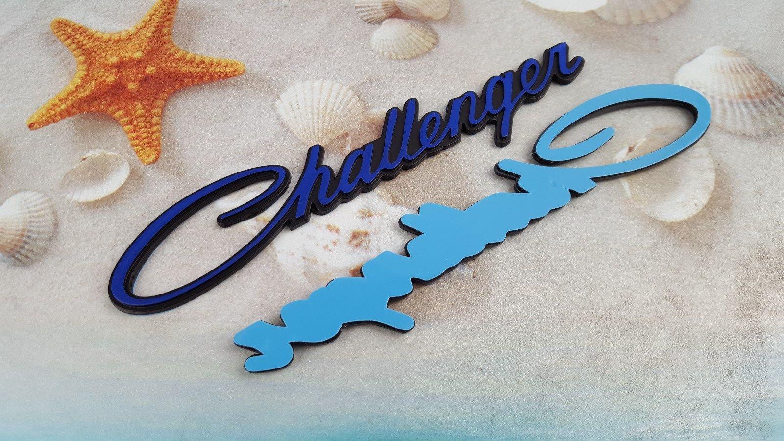 Black Red Challenger Script Emblem Badge Decal Sticker Dodge side fender badge