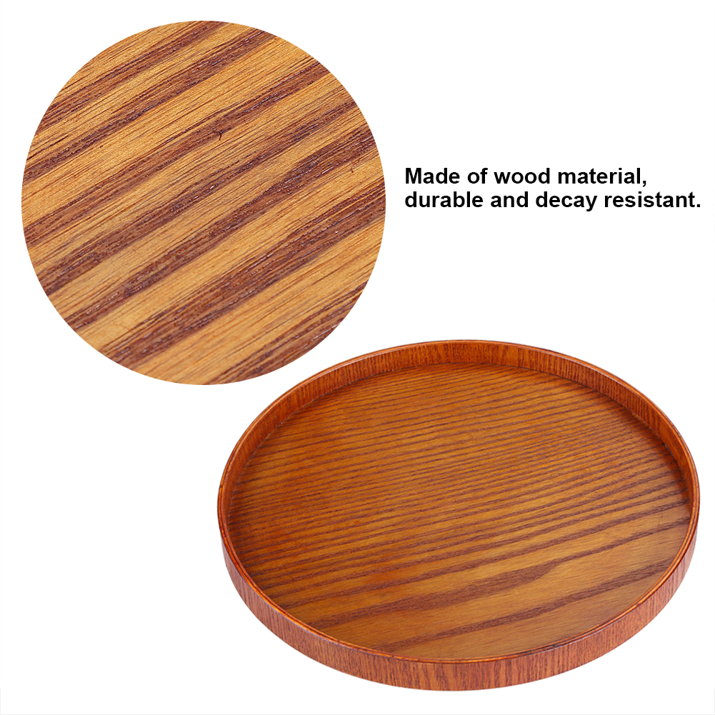 HURRISE Round Natural Wood Serving Tray Wooden Plate Tea
