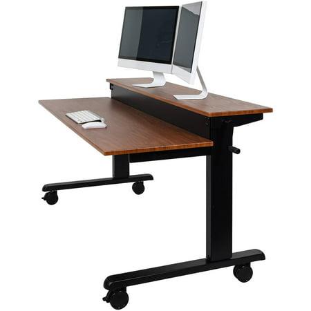 Luxor 2-Tier 48″ Crank Adjustable Standing Desk, Black/Teak
