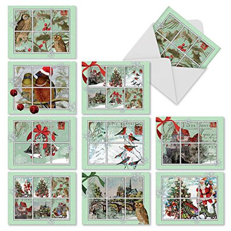 M10013XB MERRY MAIL' 10 Assorted All Occasions Note Cards Feature Images of Winter and Holiday Scenes from Vintage Postcards with Envelopes by The Best Card Company ()