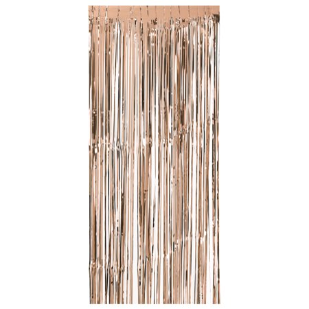 92 * 245cm Metallic Foil Fringe Curtain Tinsel Shimmer Window Door Curtain Wall Backdrop Panel Decoration for Wedding Christmas Party--Rose Gold