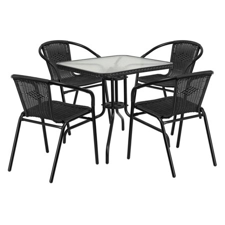 Flash furniture 28 39 39 square glass metal table with rattan for Metal patio table and 4 chairs