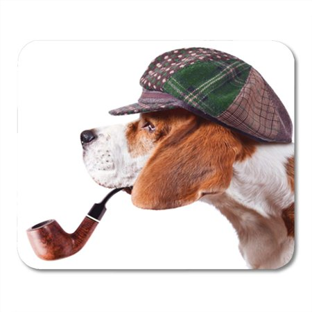 KDAGR Brown Detective Beagle in Cap Green Dog Pipe Pet Mousepad Mouse Pad Mouse Mat 9x10 inch