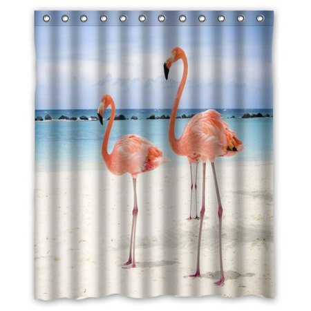EREHome Flamingo Shower Curtain Polyester Fabric Bathroom Decorative Curtain Size 60x72 Inches - image 1 of 1