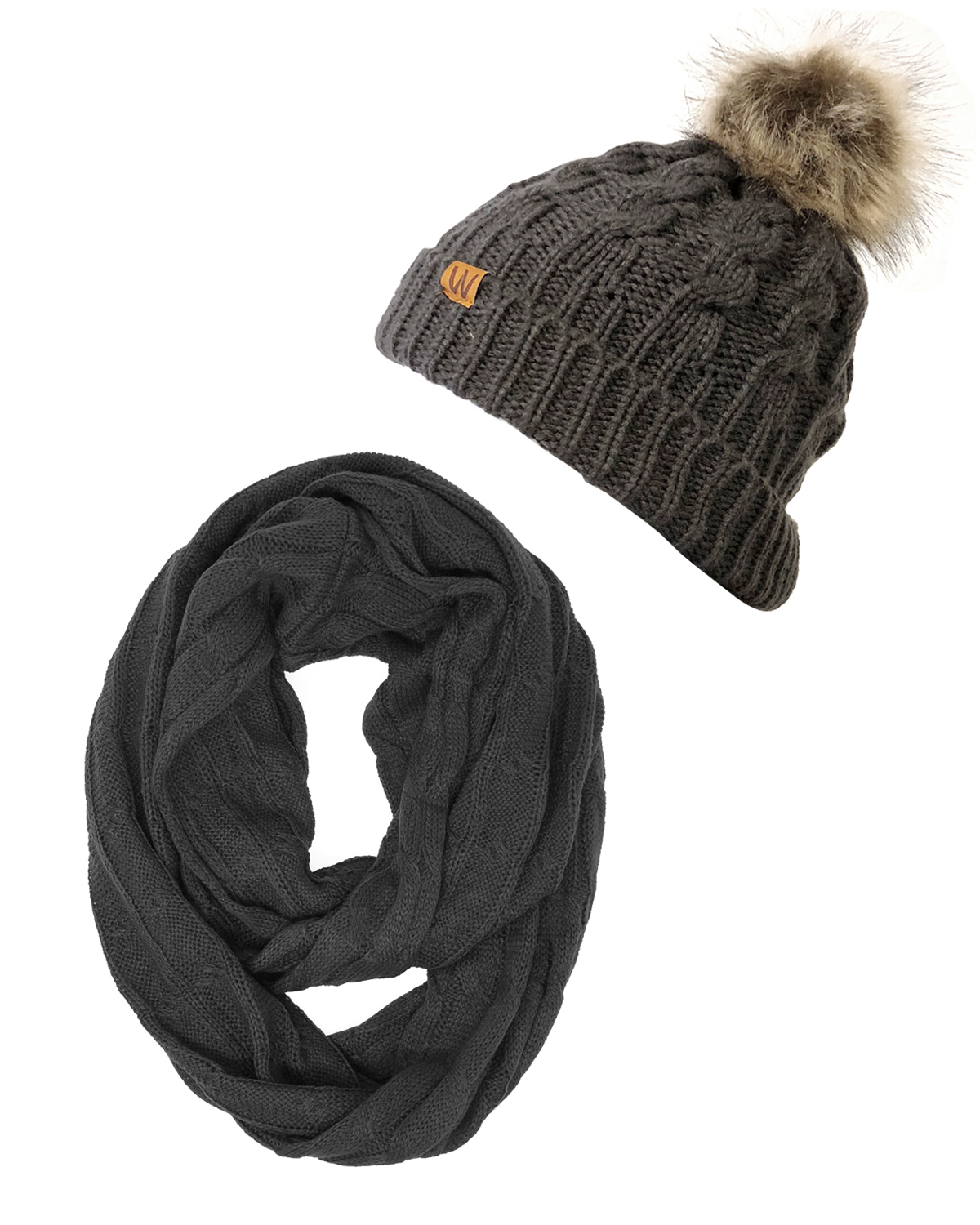 90fb205852734 Wrapables® Winter Warm Cable Knit Infinity Scarf and Faux Fur Pom Pom Beanie  Set, Charcoal Gray - Walmart.com