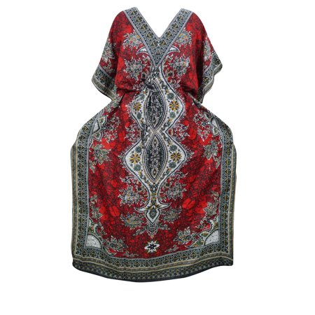 Mogul Women's Maxi Dress Red Dashiki Print Beach Cover Up Evening Dresses XXL