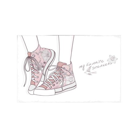 MKHERT Fashion Shoes in Floral Pattern with Fashionable Sneakers Placemats Table Mats for Dining Room Kitchen Table Decoration 12x18 inch,Set of 4 ()
