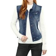 Women's Buttoned Washed Denim Vest w Flap Pockets Blue (Size XL / 16)