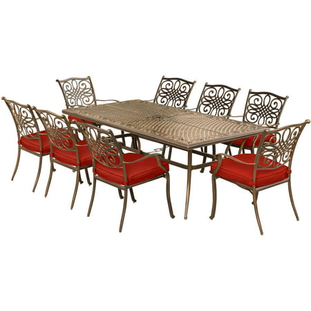 Wondrous Hanover Traditions 9 Piece Outdoor Dining Set With Cast Top Table And 8 Stationary Chairs Cjindustries Chair Design For Home Cjindustriesco