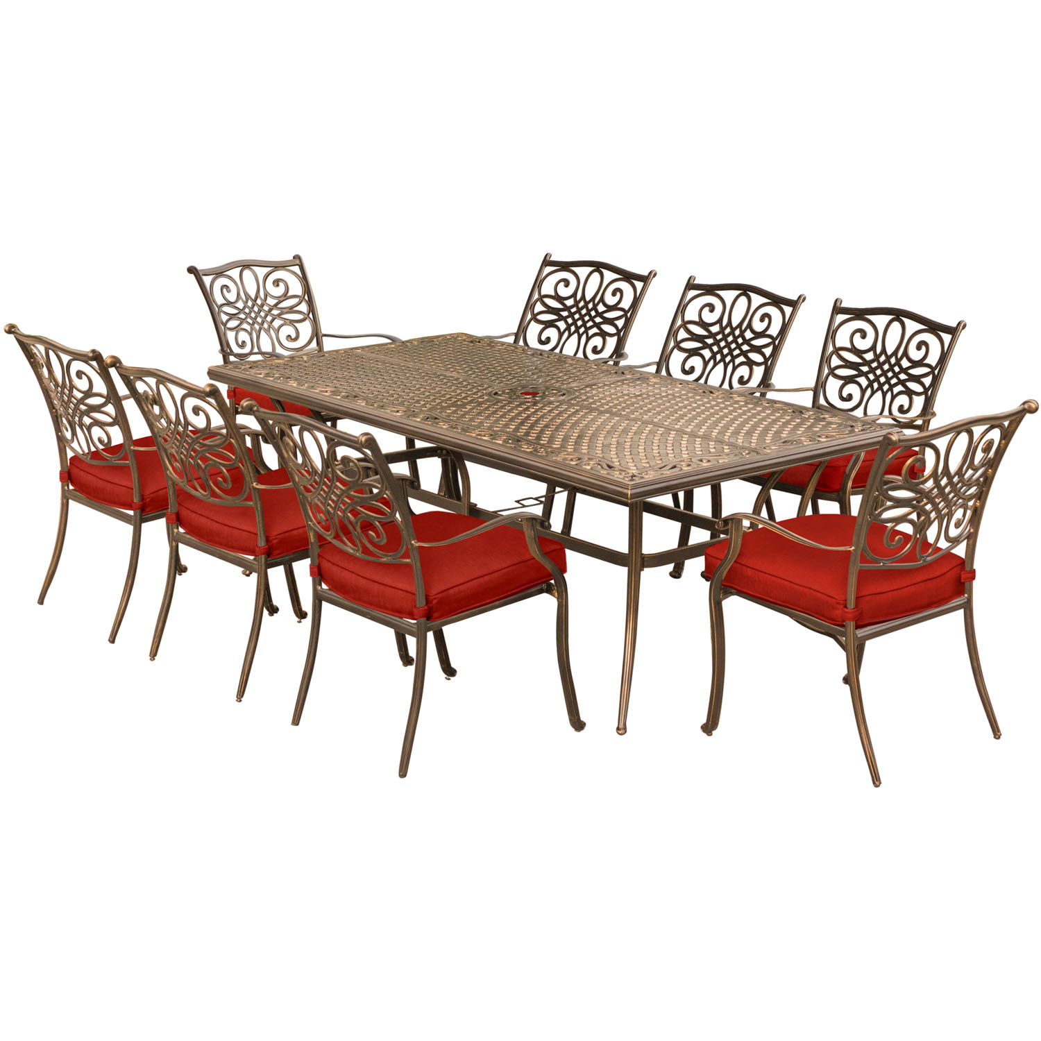 Hanover Traditions 9-Piece Outdoor Dining Set with Cast-Top Table and 8 Stationary Chairs