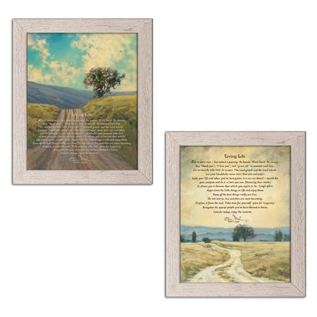 Gango Home Decor Traditional Living Life & Living Life by Bonnie Mohr (Ready to Hang); Two 11x14in Distressed Framed Prints
