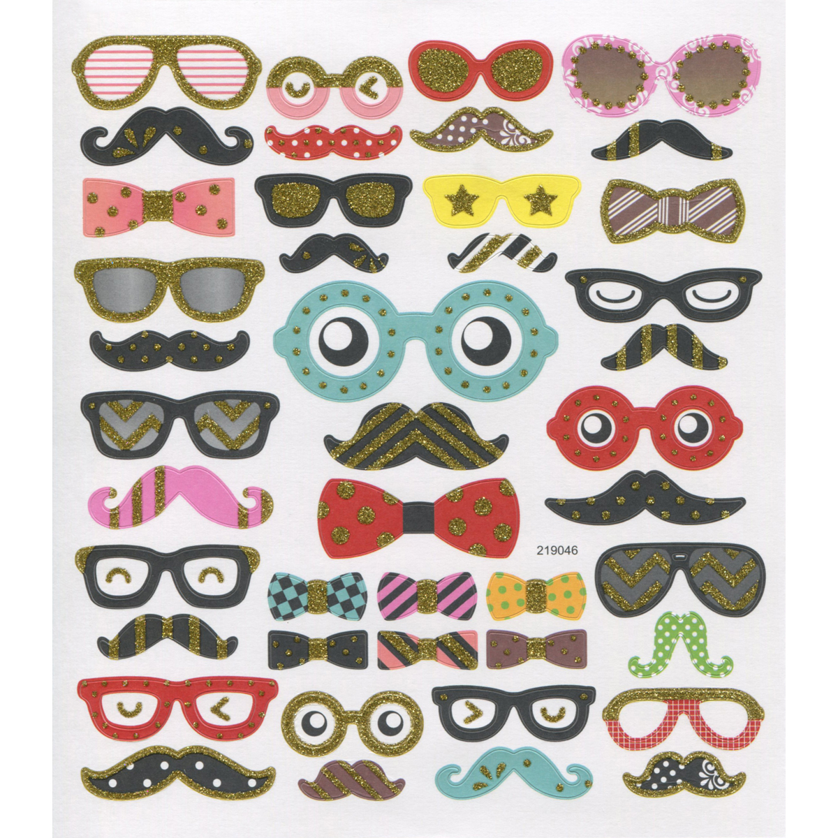 Multicolored Stickers-Moustaches & Bowties