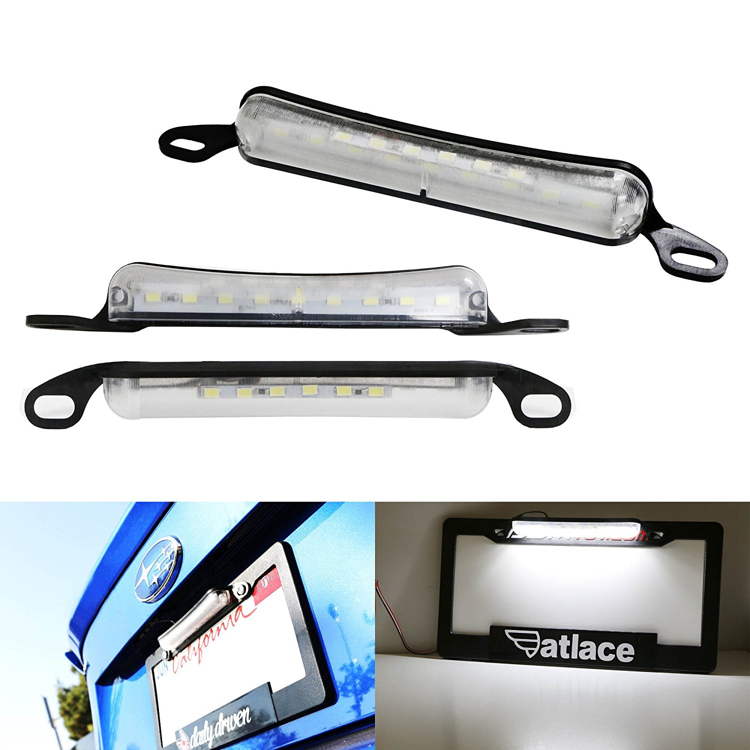 iJDMTOY Universal 15-SMD Two-Way License Frame Mount LED License Plate Light Plus LED Backup Reverse Light For Car Truck SUV Van RV, Xenon White
