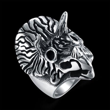 Men Creative Fashion Owl Titanium Steel Ring Unique Hand Decoration Size12 - image 6 de 7