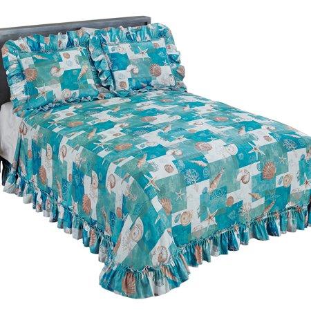 Coastal Seashell Décor Patchwork Plissé Ruffled Edge Bedspread, Full, Blue ()