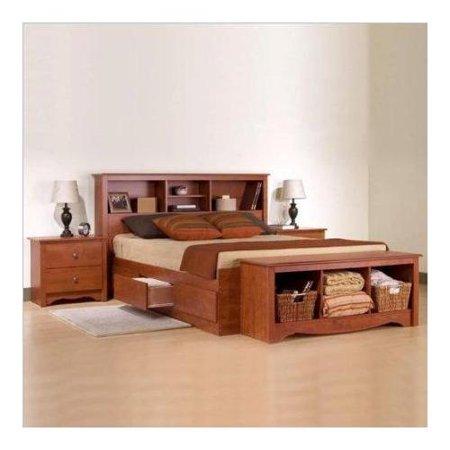 monterey cherry queen wood platform storage bed 3 piece bedroom set. Black Bedroom Furniture Sets. Home Design Ideas