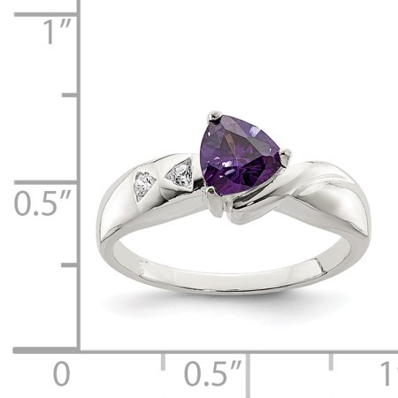925 Sterling Silver Purple Trillion Cubic Zirconia Cz Band Ring Size 8.00 Fine Jewelry Gifts For Women For Her - image 1 de 6