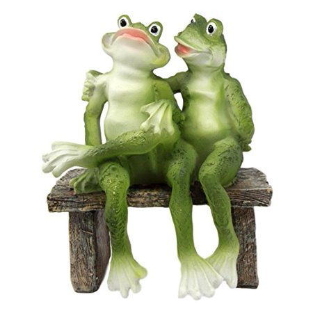 "Atlantic Collectibles Rainforest Frog Couple Lovers Sitting Side By Side On A Date Decorative Figurine 7""H"