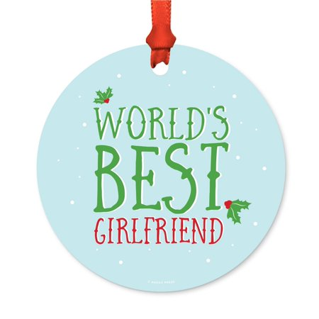 Metal Christmas Ornament, World's Best Girlfriend, Holiday Mistletoe, Includes Ribbon and Gift