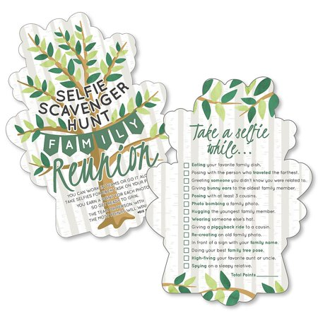Family Tree Reunion - Selfie Scavenger Hunt - Family Gathering Party Game - Set of 12  - Halloween Party Treasure Hunt